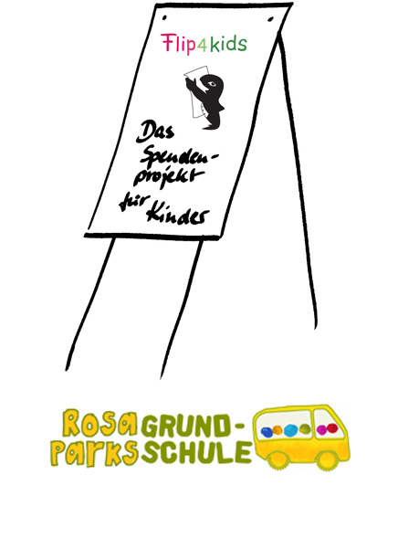 Logos flip4kids und Rosa-Parks-Grundschule