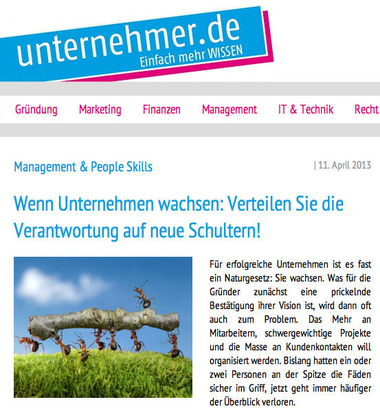 Screenshot website unternehmer.de